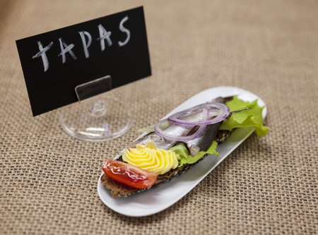 excellent background: Delicious Spanish tapas with butter and onion salad sprat, Atlantic on slice baguette. An excellent background for the menus, cafe, restaurant TAPAS poster