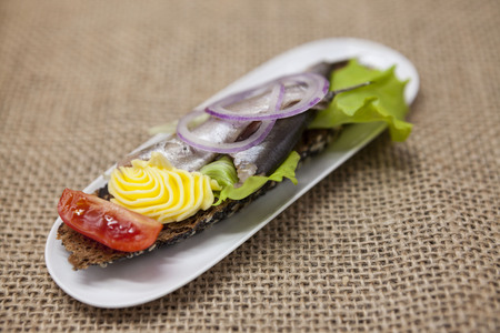 ascetic: Delicious Spanish tapas with butter and onion salad sprat, Atlantic on slice baguette. An excellent background for the menus, cafe, restaurant