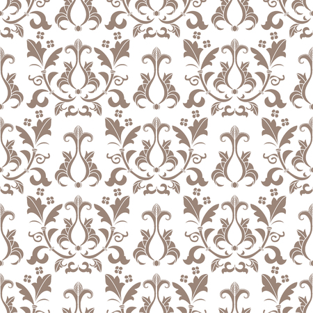 victorian wallpaper: Beige and white damask seamless pattern. Victorian old style, luxury ornament. Can be used for wallpaper, wrapping paper, textile fabric,  web design Illustration