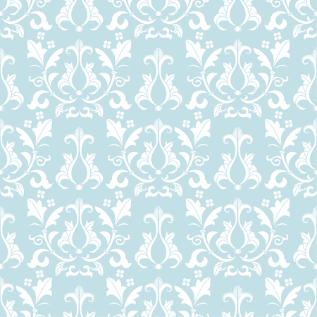 victorian wallpaper: Blue and white damask seamless pattern. Victorian old style, luxury ornament. Can be used for wallpaper, wrapping paper, textile fabric,  web design