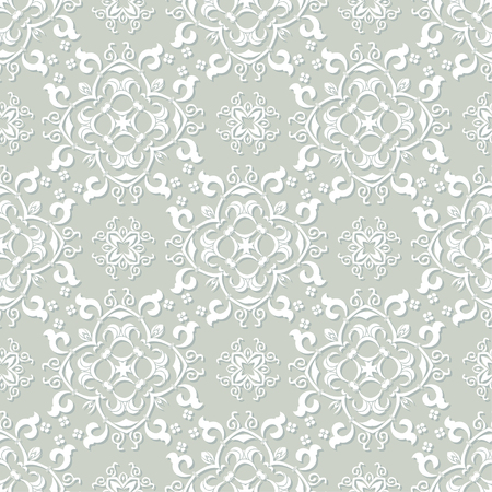 victorian wallpaper: Silver grey and white damask seamless pattern. Victorian old style, luxury ornament. Can be used for wallpaper, wrapping paper, textile fabric,  web design Illustration