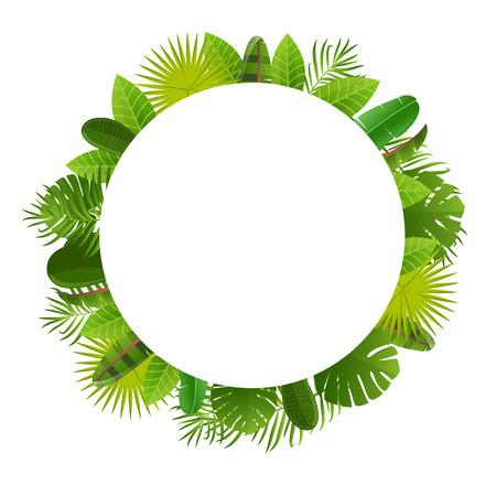 strelitzia: Tropical leaves frame. Floral jungle design background. Illustration