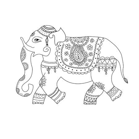 illustration of elephant in ethnic style. Indian style decorated ornate elephant