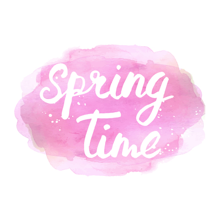 phrase: Spring time lettering phrase. Abstract hand drawn watercolor splotch. Illustration