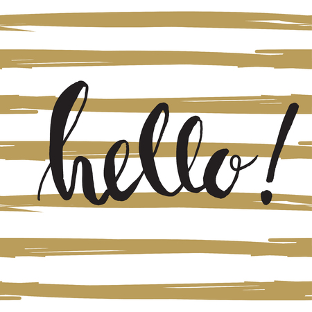 dry brush: Ink painted word Hello. Lettering on striped background. Dry brush illustration. Hello! - phrase