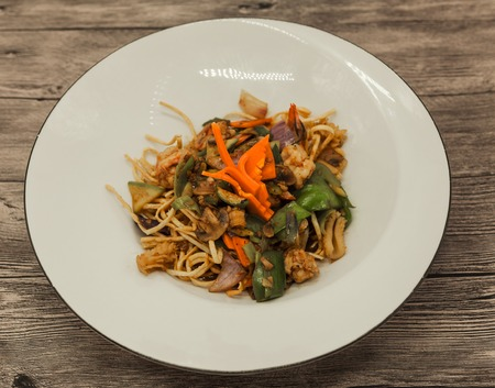 exotically: The Chinese fried noodles with squids, an octopus and vegetables