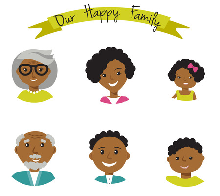 african american family: Happy African American family faces portraits of six members: parents,their son and daughter, and grandparents. Vector illustration Illustration