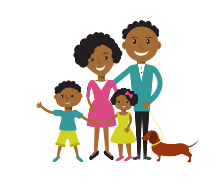 Happy African American family of 4 members: parents,their son and daughter with their dog. Vector illustration