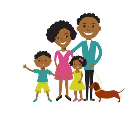 Glückliche afroamerikanische Familie mit 4 Mitgliedern: Eltern, Sohn und Tochter mit Hund. Vektor-illustration