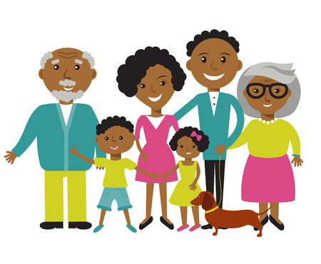 Happy African American family of six members: parents,their son and daughter, and grandparents with their dog. Vector illustration Stock Illustratie