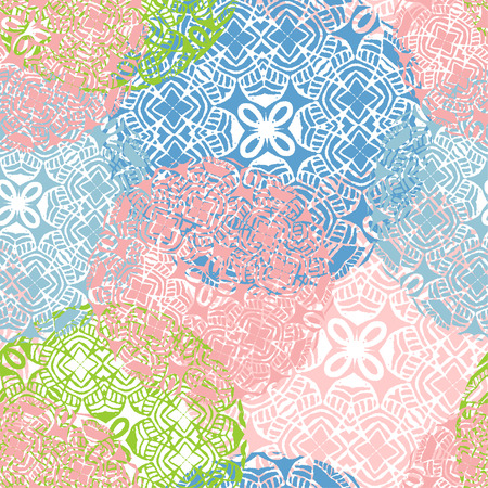 pastel colors: Vector seamless pattern with stylized dandelions and chrisanthemums in pastel colors.