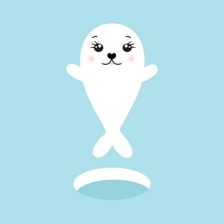 scrap book: Cute seal. Vector illustration of cute cartoon seal character for greeting card, invitation, scrap book and other design