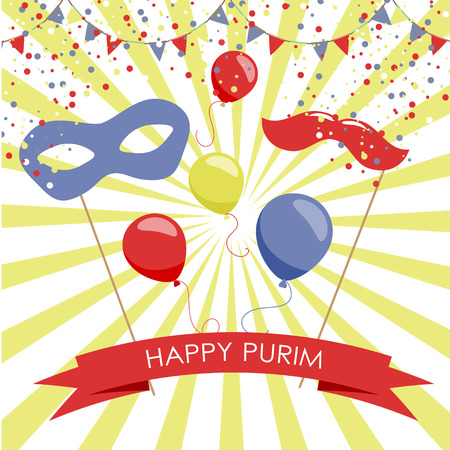 Purim holiday card or banner design. Bright carnival mask, ballon and moustaches. Flag garlands and confetti. Symbols of purim carnival.