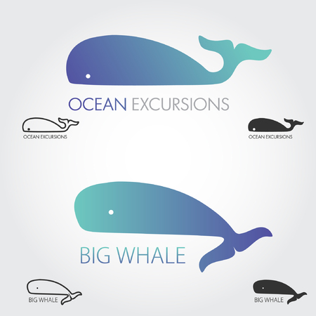 simple fish: Blue Whale logos set. Concept fish logo. Simple icon or logotype