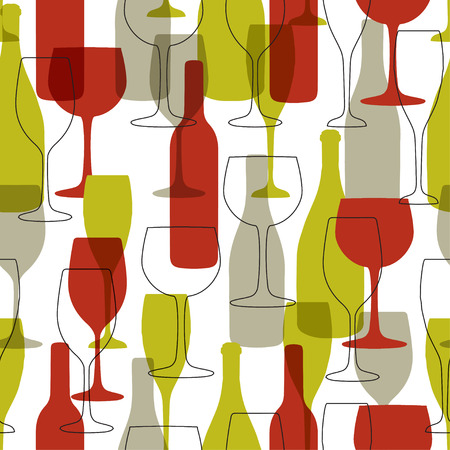 wine bottles: Seamless background with wine bottles and glasses. Bright colors wine pattern for web, poster, textile, print and other design Illustration