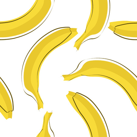 Seamless stylish pattern with fresh yellow bananas in flat style. Bananas pattern for cloth, textile, wrap, tshirt, bermudas and other design. Ilustração