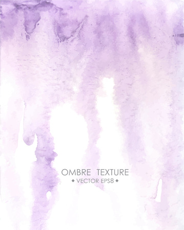 ombre: Hand drawn ombre texture. Watercolor painted light violet background with white space for text. Vector illustration for wedding, birhday, greetings cards, web, print, scrapbooking.