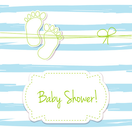 foot steps: Blue vector card invitation for baby shower, arrival or birthday card with  stripes and baby foot steps. Cute background in blue colors