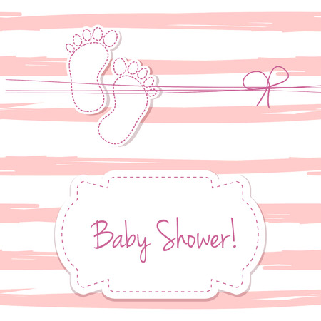 foot steps: Pink vector card invitation for baby shower, arrival or birthday card with  stripes and baby foot steps. Cute background in pink colors