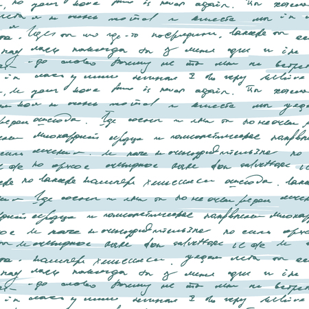 vellum: Seamless pattern with handwriting text on blue striped background. Abstract vintage seamless text pattern.