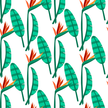 endlessly: Vector bird of the paradise flowers seamless pattern. Tropical seamless background for textile, paper, wallpapet, clothing, web and other Illustration