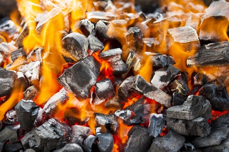attenuated: The fire, burning coals close up