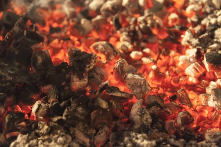 ardently: The fire, burning coals close up