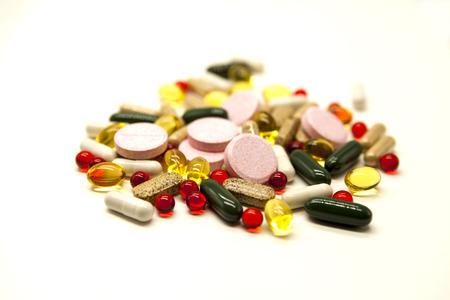 therapeutics: Different pills, medications, the pills  closeup on white background Stock Photo