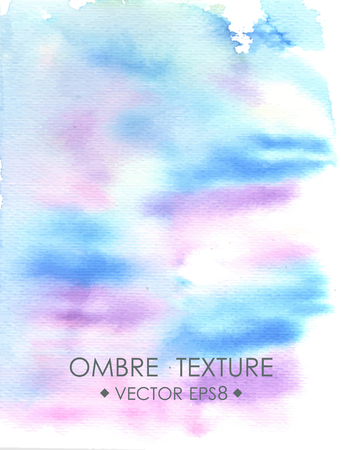 ombre: Hand drawn ombre texture. Watercolor painted light blue and violet background space for text. Vector illustration for wedding, birhday, greetings cards, web, print, scrapbooking. Stock Photo