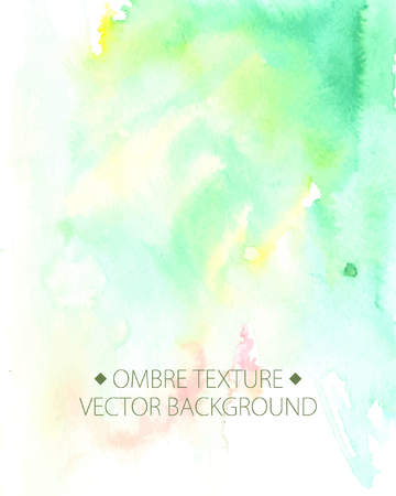 ombre: Hand drawn ombre texture. Watercolor painted light green background with white space for text. Vector illustration for wedding, birhday, greetings cards, web, print, scrapbooking.