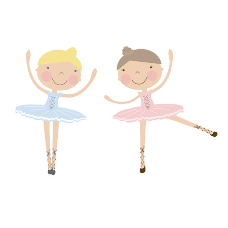 cute baby girls: Cute dancing ballerina girls in blue, and pink dresses. Vector illustration for baby and child wallpapers, textile, posters and clothing prints.Girlfriends in ballet dresses