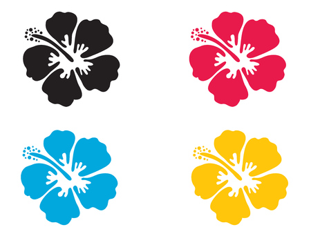 Hibiscus flower. Vector illustration. Hibiscus icon in 4 colors - blue, black, red and yellow. Summer tropical flower symbol  イラスト・ベクター素材
