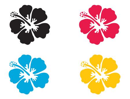 Flor Hibiscus. Ilustración del vector. icono del hibisco en 4 colores - azul, negro, rojo y amarillo. Verano símbolo de la flor tropical