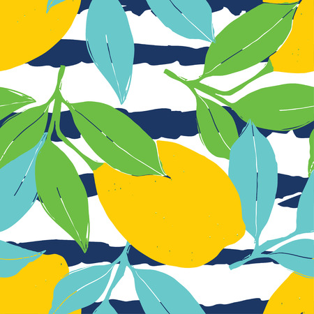mediterranian: Lemon pattern. Seamless decorative background with yellow lemons and green leaves on black stripes grunge background. Mediterranian seamless pattern with fruits. Textile pattern. Illustration