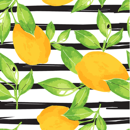 mediterranian: Lemon pattern. Seamless decorative background with yellow lemons and green leaves  on black stripes grunge background. Mediterranian seamless pattern with fruits. Textile pattern.