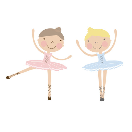girlfriends: Cute dancing ballerina girls in blue and pink dresses  on white. Vector Illustration with girlfriends in ballet dancers dresses