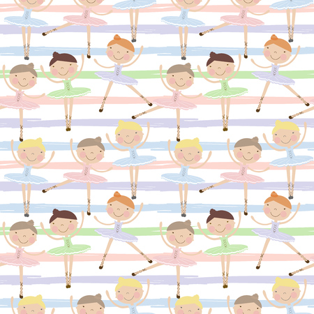 kindergarden: Cute dancing ballerina girls in blue, green and pink dresses on striped background. Seamless pattern for baby and child wallpapers, textile, posters and clothing prints.Girlfriends in ballet dresses