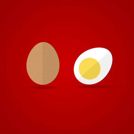 brown egg: Egg Icon. Flat design style brown whole and cut eggs symbol on red background.