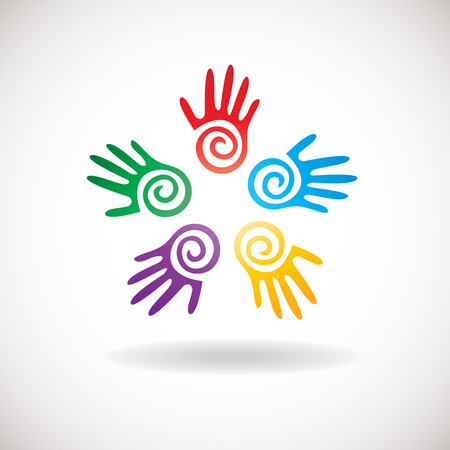 hands together: Circle shape from bright hands together. Abstract icon for kindergarden, charity, health or medical center