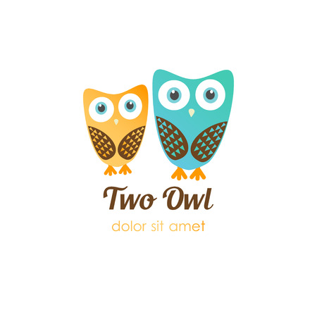 kindergarden: Two owl in flat style. Vector for shop, entertaiment, education company, school, kindergarden, library and other