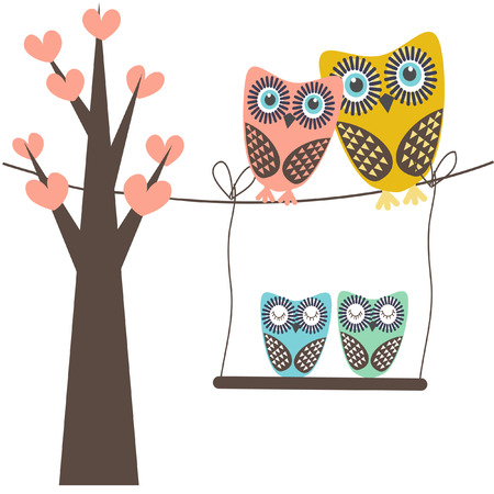 owl family: Cute vector illustration of an owl family sitting in the tree