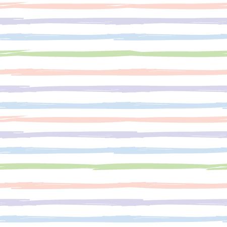 Naadloze gestreept patroon. Hand geschilderde achtergrond met inkt penseelstreek. Roze, blauw, groen en paarse strepen op een witte achtergrond. Kan gebruikt worden voor prints, behang, baby shower uitnodiging, verjaardagskaart, scrapbooking ontwerpen.