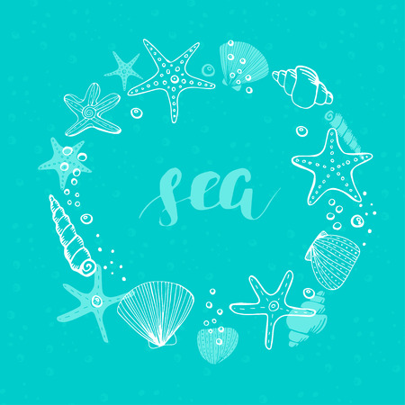 Summer Vector Circle Frame. Vector Background with Seashells, Sea Stars and Corals. Illustration