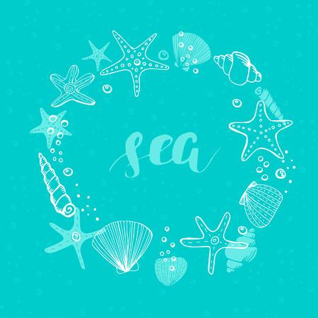 Marco de círculo de vector de verano. Fondo de vector con conchas marinas, estrellas de mar y corales.