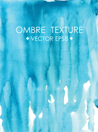 ombre: Hand drawn ombre texture. Watercolor painted bright blue background with white space for text. Vector illustration for wedding, birhday, greetings cards, web, print, scrapbooking. Illustration