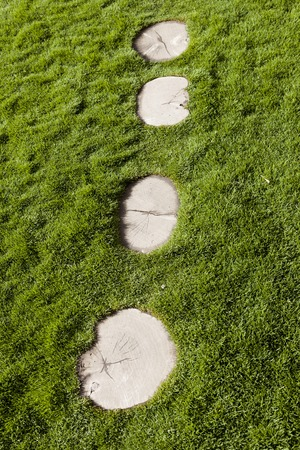 berm: Beautiful path of white stones on a lawn of green grass Stock Photo