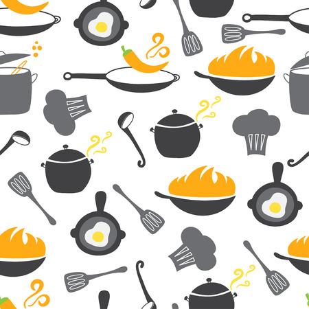 soup spoon: Kitchen elements seamless pattern. Wok, pan, pot, soup, fried egg, spoon scoop chilli pepper stewpot
