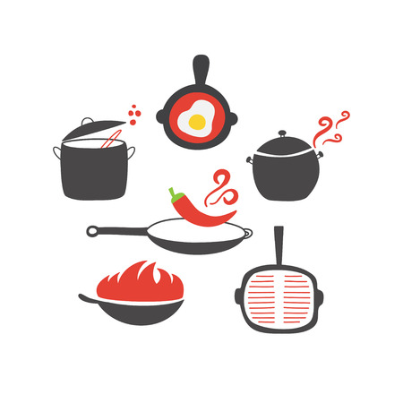 chilli pepper: Kitchen elements and utencils icon on white background. Wok, pan, pot, soup, fried egg, spoon, scoop, chilli pepper stewpot Illustration