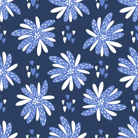 Seamless vector background. Beautiful abstract flowers in blue and white colors.