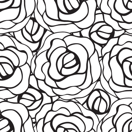 black roses: Seamless pattern with black roses contours on white background. Vector illustration. Illustration